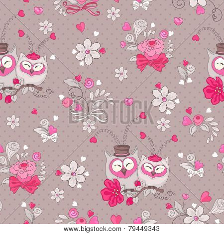 Seamless pattern of hearts, owls and flowers in retro style.