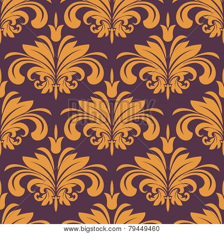 Orange Florich Seamless Background