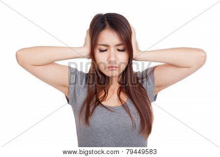 Young Asian Woman Got Sick Close Her Ear