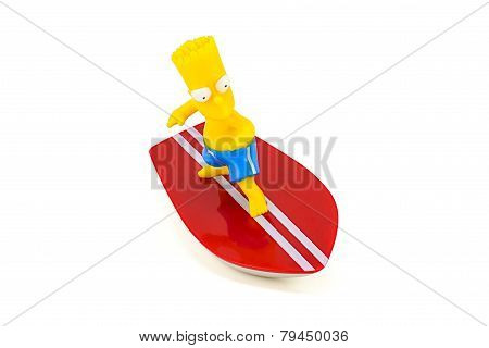 Bart Simpson Standing On Surfboard Figure Toy Character From The Simpsons Family.