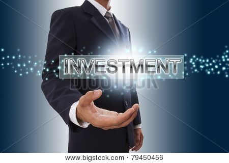 Businessman hand showing creative button.