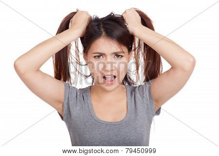Stressed Young Asian  Woman Is Going Crazy Pulling Her Hair