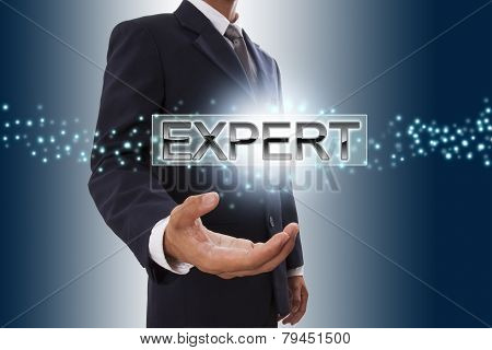 Businessman hand showing expert button.