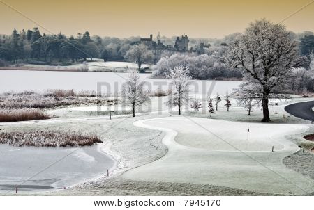 Winter Cold Scenic Landscape Lake With Castle In Distance, Ireland