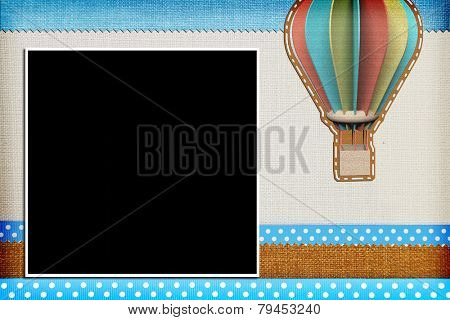 Decorative template with photo frames. Scrapbook, photobook concept