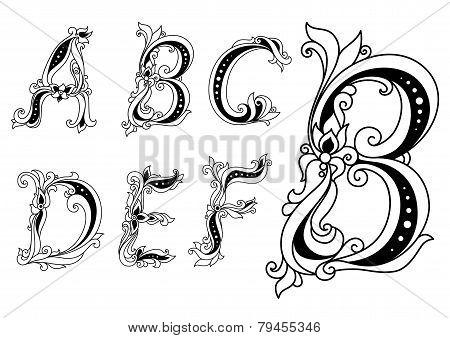 Outline Floral Font