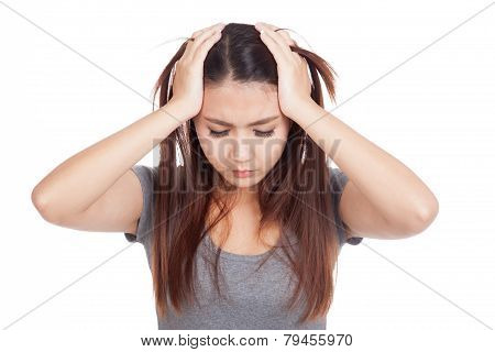 Depressed Young Asian Woman