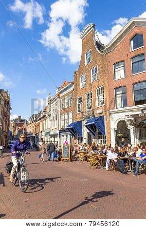 Typical bars with medieval architecture in Haarlem