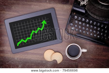 Tablet Touch Computer Gadget On Wooden Table, Graph Positive