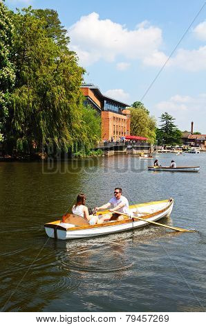 Rowing along River Avon, Stratford-upon-Avon.