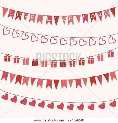 Set of garlands for Valentine's Day or wedding design