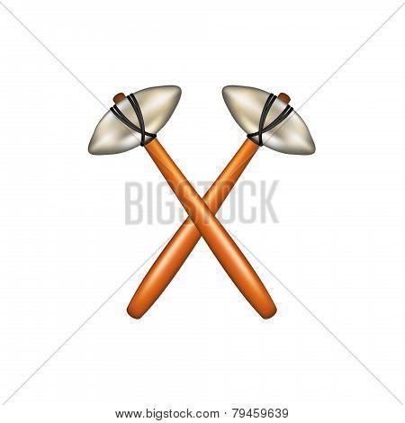 Crossed hammers of prehistoric man