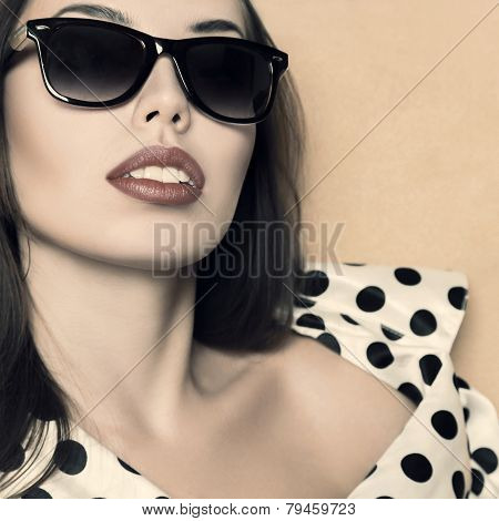 Beautiful Woman Retro Style Portrait