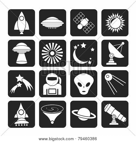Silhouette astronautics, space and universe icons