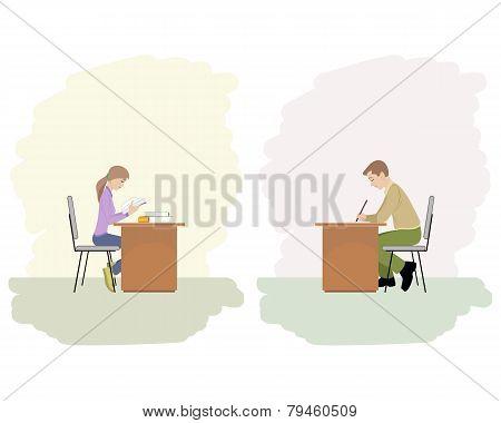 Girl And Boy Studying