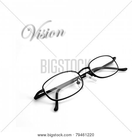 Closeup of isolated reading glasses on white background
