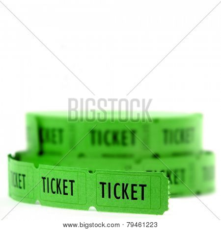 Rolls of Green tickets connected together for admission