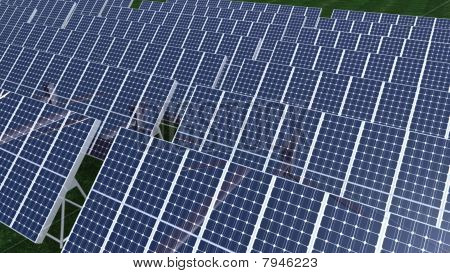 Animation Presenting A Big Field Of Photovoltaic Panel
