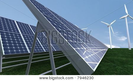 Animation Presenting A Field Of Solar Panel
