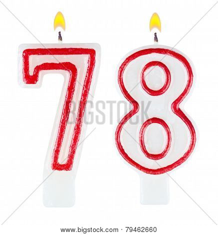 Birthday Candles Number Seventy Eight