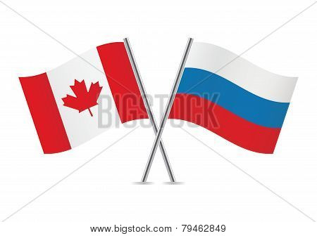 Canadian and Russian flags. Vector illustration.