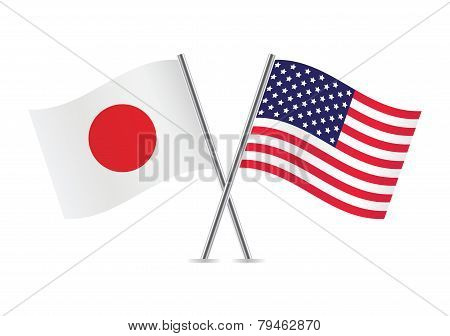 American and Japanese flags. Vector illustration.