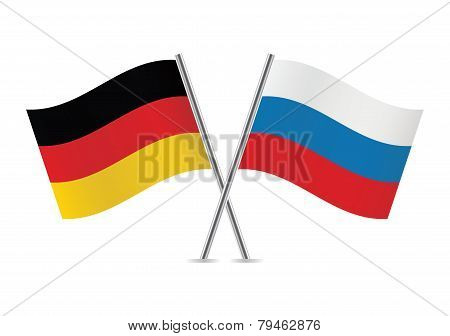 German and Russian flags. Vector illustration.