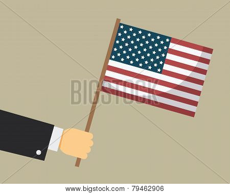 Hand holding American flag. Vector illustration.