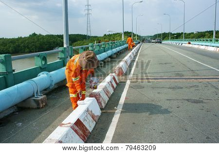 Asian Worker Working, Traffic Paint Street