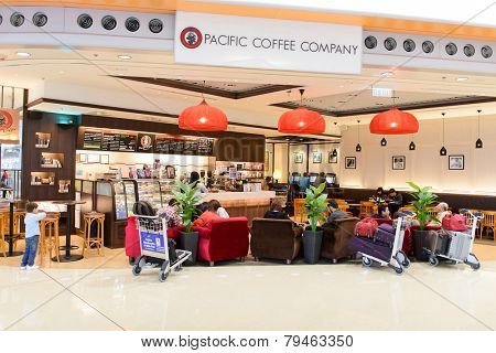 HONG KONG - APRIL 01: Pacific Coffee cafe in airport on April 01, 2014 in Hong Kong, China. Pacific Coffee Company is a Pacific Northwest U.S.-style coffee shop group originating from Hong Kong.