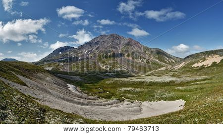 Panoramic view of Khangar Volcano - active volcano of Kamchatka Peninsula