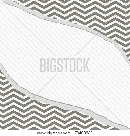 Gray And White Chevron Frame With Torn Background