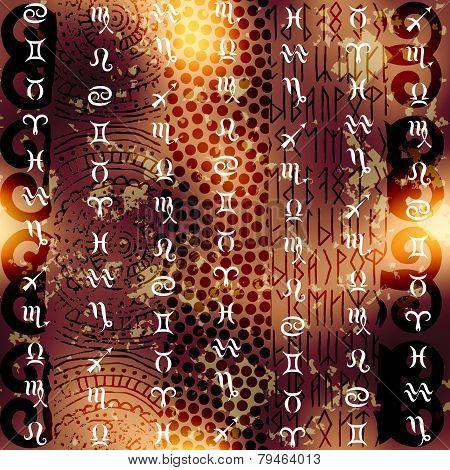 Symbols of zodiac on grunge ethnic background.