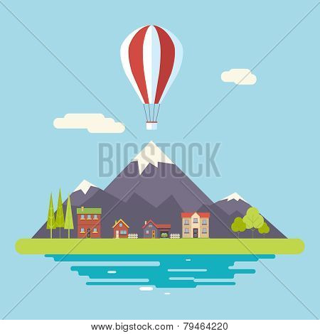 Advertisement Commercial Promotion House Village Mountains Sky Icons Modern Flat Design Icon Summer