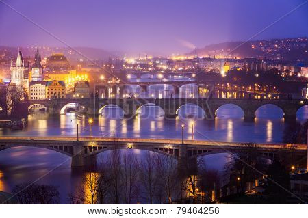 Vltava (Moldau) River at Prague with Charles Bridge at dusk, Czech Republic