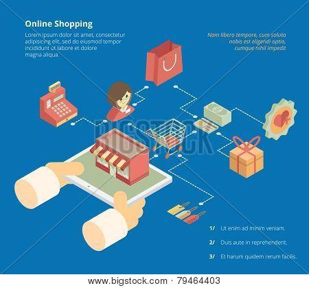 Online shopping infographics scheme