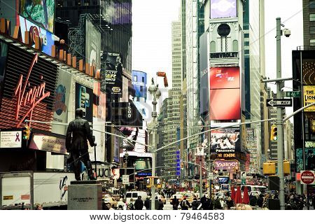 NEW YORK CITY - OCT 16 : Times Square in day time featured with Broadway Theaters and LED signs