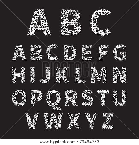 Simple White Crossed Font Letters