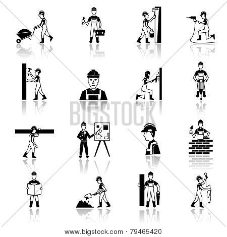 Construction worker icons black