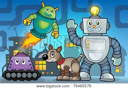 Robot theme image 6 - eps10 vector illustration.