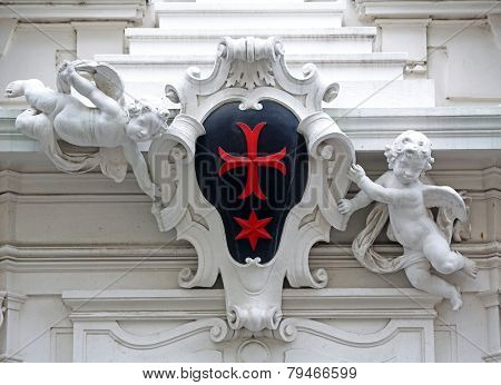 VIENNA, AUSTRIA - OCTOBER 10: Detail from the house of the Knights of the Cross with the Red Star on October 10, 2014 in Vienna. The Knights ware a religious order from Bohemia.