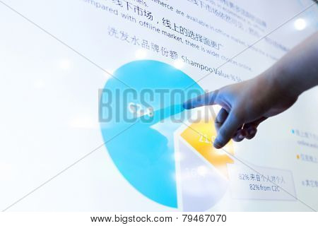 modern business data touch screen,the chinese words are business details like sale,profit etc.The chinese word is the conclusion of the sale  pie chart inform