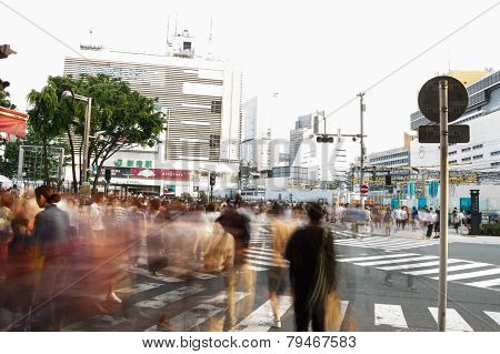 Tokyo ,japan - May 25 ,2014. Many People Cross The Street And Traffic Light