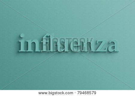 3D text with shadow on wall, influenza .