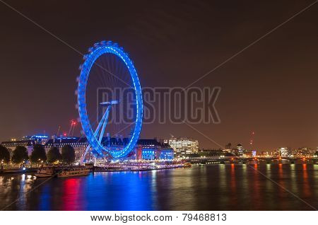 London Eye In London At Night