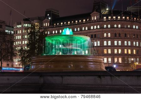 Fountain On Trafalgar Square At Night