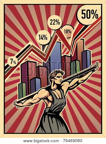 This illustration symbolizes that the shoulders of the working, keep the economy.