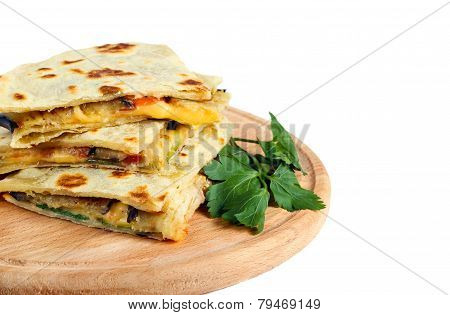 Flatbread With Cheese, Tomato And Eggplant