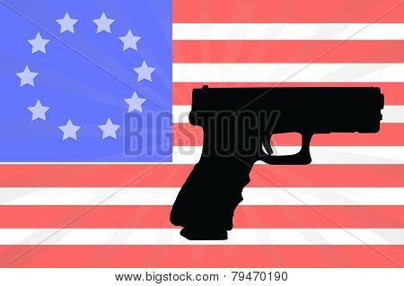 American Flag With A Silhouette Of A Hand Gun