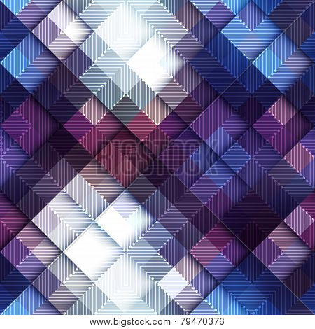 Abstract pixel pattern on blue matrix board.
